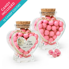 Personalized Rehearsal Dinner Favor Assembled Heart Jar with Sixlets