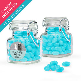 Personalized Rehearsal Dinner Favor Assembled Swing Top Square Jar with Just Candy Jelly Beans