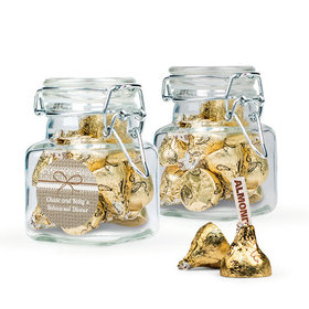 Personalized Rehearsal Dinner Favor Assembled Swing Top Square Jar with Hershey's Kisses
