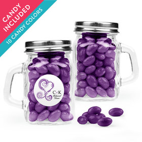 Personalized Rehearsal Dinner Favor Assembled Mini Mason Mug with Just Candy Jelly Beans