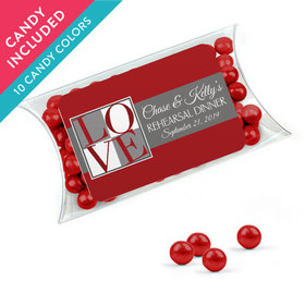 Personalized Rehearsal Dinner Favor Assembled Pillow Box with Sixlets