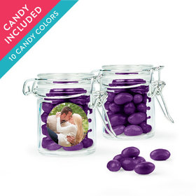 Personalized Rehearsal Dinner Favor Assembled Swing Top Round Jar with Just Candy Jelly Beans