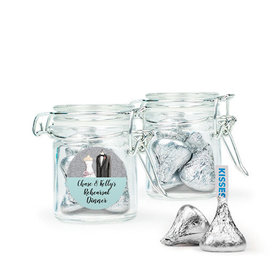 Personalized Rehearsal Dinner Favor Assembled Swing Top Round Jar with Hershey's Kisses