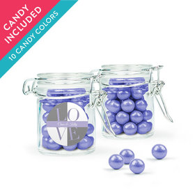 Personalized Rehearsal Dinner Favor Assembled Swing Top Round Jar with Sixlets