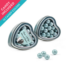 Personalized Rehearsal Dinner Favor Assembled Heart Tin with Sixlets