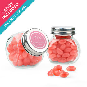 Personalized Rehearsal Dinner Favor Assembled Mini Side Jar with Just Candy Jelly Beans