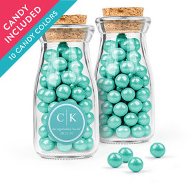 Personalized Rehearsal Dinner Favor Assembled Glass Bottle with Cork Top with Sixlets