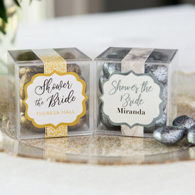 Personalized Bridal Shower JUST CANDY® favor cube with Premium Almond Jewels