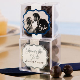 Personalized Bridal Shower JUST CANDY® favor cube with Premium Barrel Aged Bourbon Cordials - Dark Chocolate