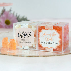 Personalized Bridal Shower JUST CANDY® favor cube with Gummy Bears