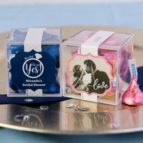 Personalized Bridal Shower JUST CANDY® favor cube with Hershey's Kisses