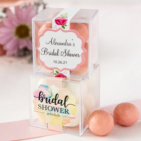 Personalized Bridal Shower JUST CANDY® favor cube with Premium Malted Milk Balls