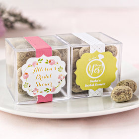 Personalized Bridal Shower JUST CANDY® favor cube with Premium Marshmallow S'mores - Milk Chocolate