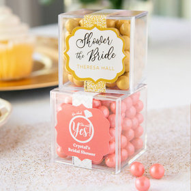 Personalized Bridal Shower JUST CANDY® favor cube with Sixlets Chocolate