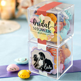 Personalized Bridal Shower JUST CANDY® favor cube with Premium Milk Chocolate Candy Sea Shells