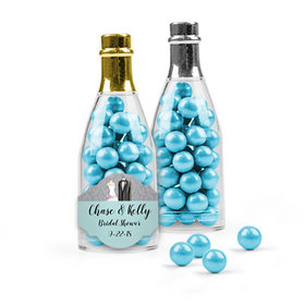 Personalized Bridal Shower Favor Assembled Champagne Bottle with Sixlets
