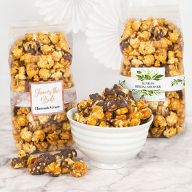 Personalized Bridal Shower Chocolate Caramel Sea Salt Gourmet Popcorn 8 oz Bags
