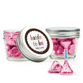 Personalized Bridal Shower Favor Assembled Small Mason Jar with Hershey's Kisses