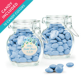 Personalized Bridal Shower Favor Assembled Swing Top Jar with Just Candy Milk Chocolate Minis