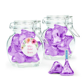 Personalized Bridal Shower Favor Assembled Swing Top Jar with Hershey's Kisses