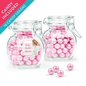 Personalized Bridal Shower Favor Assembled Swing Top Jar with Sixlets