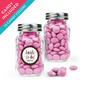 Personalized Bridal Shower Favor Assembled Mini Mason Jar with Just Candy Milk Chocolate Minis