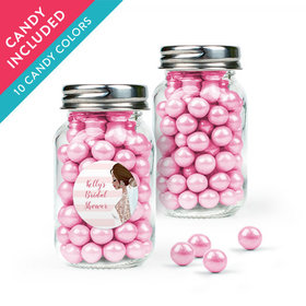 Personalized Bridal Shower Favor Assembled Mini Mason Jar with Sixlets