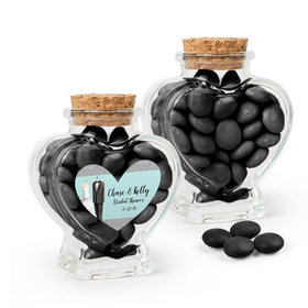 Personalized Bridal Shower Favor Assembled Heart Jar with Just Candy Milk Chocolate Minis