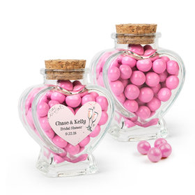 Personalized Bridal Shower Favor Assembled Heart Jar with Sixlets