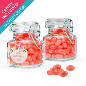 Personalized Bridal Shower Favor Assembled Swing Top Square Jar with Just Candy Jelly Beans