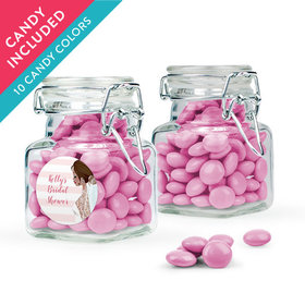 Personalized Bridal Shower Favor Assembled Swing Top Square Jar with Just Candy Milk Chocolate Minis