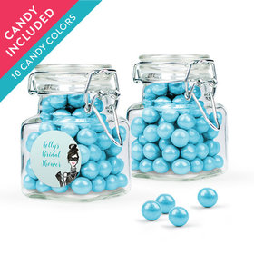 Personalized Bridal Shower Favor Assembled Swing Top Square Jar with Sixlets