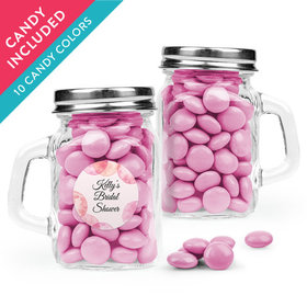 Personalized Bridal Shower Favor Assembled Mini Mason Mug with Just Candy Milk Chocolate Minis