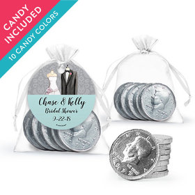 Personalized Bridal Shower Favor Assembled Organza Bag, Gift tag with Milk Chocolate Coins