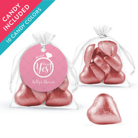 Personalized Bridal Shower Favor Assembled Organza Bag with Milk Chocolate Hearts