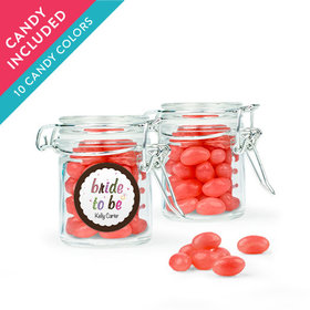 Personalized Bridal Shower Favor Assembled Swing Top Round Jar with Just Candy Jelly Beans