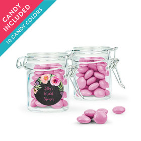Personalized Bridal Shower Favor Assembled Swing Top Round Jar with Just Candy Milk Chocolate Minis