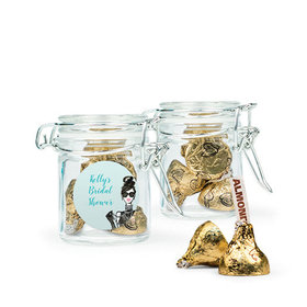 Personalized Bridal Shower Favor Assembled Swing Top Round Jar with Hershey's Kisses