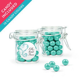 Personalized Bridal Shower Favor Assembled Swing Top Round Jar with Sixlets