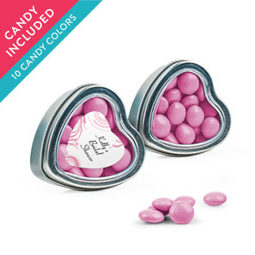 Personalized Bridal Shower Favor Assembled Heart Tin with Just Candy Milk Chocolate Minis