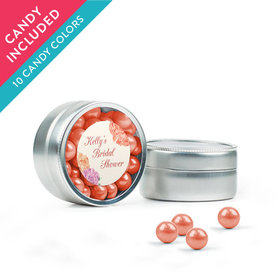 Personalized Bridal Shower Favor Assembled Mini Round Tin with Sixlets