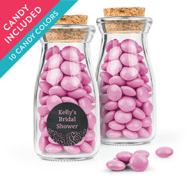 Personalized Bridal Shower Favor Assembled Glass Bottle with Cork Top with Just Candy Milk Chocolate Minis