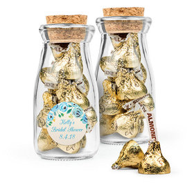 Personalized Bridal Shower Favor Assembled Glass Bottle with Cork Top with Hershey's Kisses
