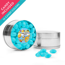Personalized Kids Birthday Favor Assembled Small Round Plastic Tin with Just Candy Jelly Beans