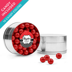Personalized Kids Birthday Favor Assembled Small Round Plastic Tin with Sixlets