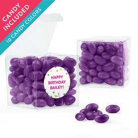 Personalized Kids Birthday Favor Assembled Clear Box with Just Candy Jelly Beans