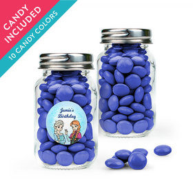 Personalized Kids Birthday Favor Assembled Mini Mason Jar with Just Candy Milk Chocolate Minis