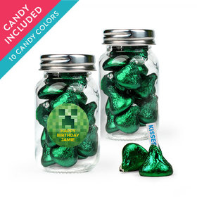 Personalized Kids Birthday Favor Assembled Mini Mason Jar with Hershey's Kisses