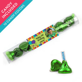 Personalized Kids Birthday Favor Assembled Clear Tube with Hershey's Kisses