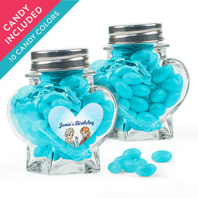 Personalized Kids Birthday Favor Assembled Heart Jar with Just Candy Jelly Beans